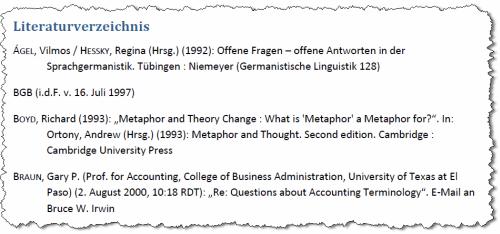 Literaturverzeichnis in Word 2007
